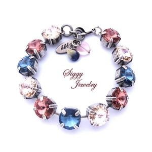 Swarovski Crystal Bracelet, Denim, Blush, Silk